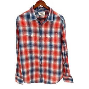 Original Penguin Plaid Pearl Snap Western Shirt XL